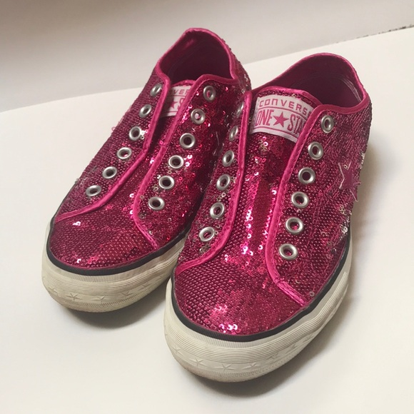 Converse Shoes | Pink Sequin Sneakers